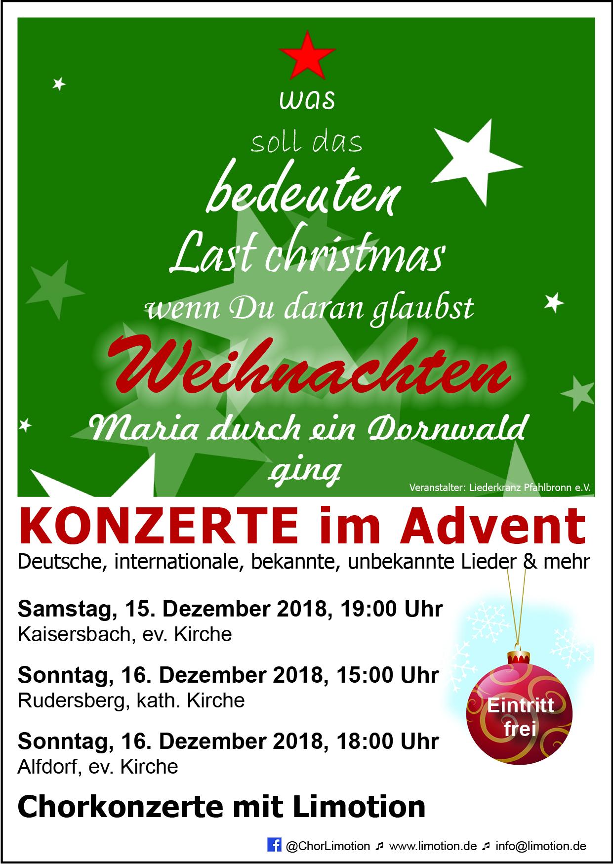 Weihnachtskonzerte 15.+16.12.2018